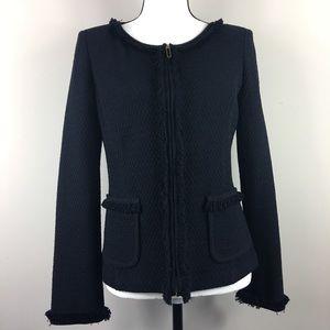 St. John Black Tweed Wool Rayon Pockets Knit SZ 6